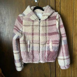 Reflex Teddy Sherpa Plaid Pink Cream Jacket Small